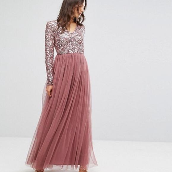 60bb272bcafc ASOS Maya Maxi Dress Tonal Delicate Sequin Blush NWT